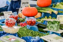 Large choice of fresh vegetables at farmers market royalty free stock photography
