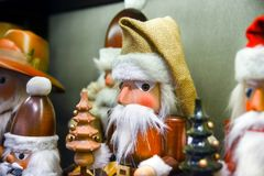 Large choice of wooden Christmas toys. For sale at Belgium royalty free stock image