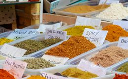 Large choice of Zaatar spices, a blend of hyssop, sumac, sesame and salt for sale at old market. Jerusalem. Israel stock photo