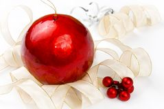 Large Christmas ball and bow Stock Images