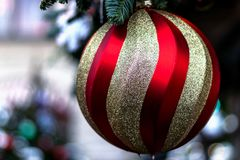 Large Christmas ball closeup, golden with red. Hanging on the green branch. Happy Christmas. Holiday royalty free stock images