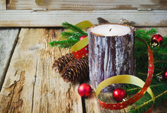 Large christmas candle Royalty Free Stock Photography