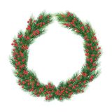 Large Christmas fir wreath with red berries. Isolated on white. Christmas  wreath for Xmas holiday greeting cards design.   Xmas greeting card design. large Royalty Free Stock Photo