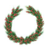 Large Christmas fir wreath with red berries. Isolated on white. Christmas  wreath for Xmas holiday greeting cards design.   Xmas greeting card design. large Stock Photo