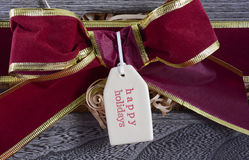 Large Christmas Gift Hamper Closeup Royalty Free Stock Image