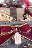 Large Christmas Gift Hamper Vertical Closeup Stock Photo