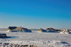 Large chunks of ice on Lake Michigan Royalty Free Stock Photos