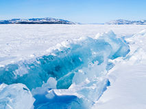 Icy pressure ridge in Lake Laberge Yukon T Canada Royalty Free Stock Photo