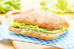 Large ciabatta sandwich with tuna, green, apple and cucumber Royalty Free Stock Photos