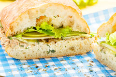 Large ciabatta sandwich with tuna, green, apple and cucumber Stock Photos