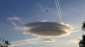 Large circular clouds Altocumulus lenticularis duplicatus in the sky. Large circular cloud forms Altocumulus lenticularis duplicatus V-39 in the evening sky over stock footage