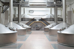 Large cisterns with hatchs in Ochakovo factory Stock Photo