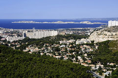 Large cited popular building on the heights of Marseille Royalty Free Stock Photos