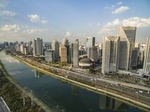 City of Sao Paulo Brazil South America, Marginal Pinheiros Avenue and Pinheiros River. Large cities with river or sea and buildings, aerial view of the `Marginal royalty free stock image
