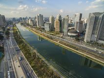 City of Sao Paulo Brazil South America, Marginal Pinheiros Avenue and Pinheiros River. Large cities with river or sea and buildings, aerial view of the `Marginal royalty free stock photo