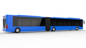 A large city bus with an additional elongated part for large passenger capacity during rush hour or transportation of people in de. Nsely populated areas. Model Stock Images
