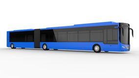 A large city bus with an additional elongated part for large passenger capacity during rush hour or transportation of people in de. Nsely populated areas. Model Stock Image