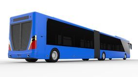A large city bus with an additional elongated part for large passenger capacity during rush hour or transportation of people in de. Nsely populated areas. Model Royalty Free Stock Image