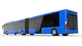 A large city bus with an additional elongated part for large passenger capacity during rush hour or transportation of people in de. Nsely populated areas. Model Stock Photography