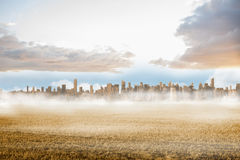 Large city on the horizon past field Stock Photography