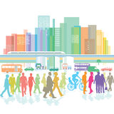 Large city with people and road traffic Royalty Free Stock Photo