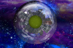 Large city ship orbits in space Royalty Free Stock Photo