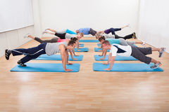Large class of people working out in a gym Royalty Free Stock Photography