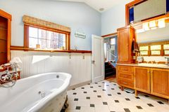 Large classic blue bathroom interior Stock Photo
