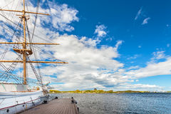 Large classic sailing ship in the harbor of Karlskrona Stock Images