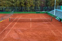 Large clay tennis court without people Stock Photography