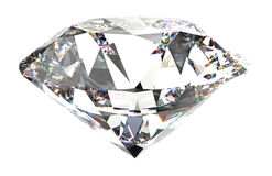 Large Clear Diamond isolated. 3d Royalty Free Stock Photo