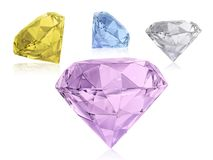Large Clear Diamond, white background stock photo