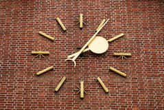 Large clock on the brick wall Royalty Free Stock Photography