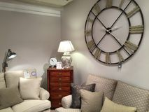 Large clock lounge Stock Photography