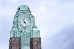 Large clock tower in Helsinki... Royalty Free Stock Photography