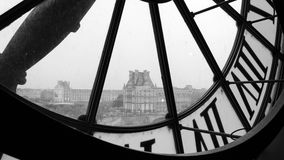 Large clocks with roman numerals in Museum d'Orsay (Black and Wh Royalty Free Stock Photography