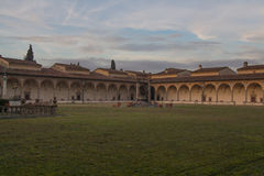 Large cloister of Florence Charterhouse church. Certosa di Galluzzo di Firenze. Italy. royalty free stock images