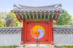The large closed gate with a Japanese Royalty Free Stock Image
