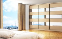 Large closet in the room with window and bed. 3d illustration stock image