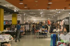 A large clothing store. A wide range of textiles Royalty Free Stock Images