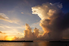 Large Cloud at Sunset Royalty Free Stock Photos