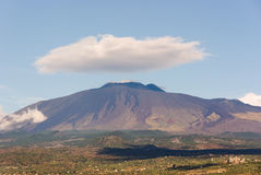 Large Cloud On Volcano Etna Royalty Free Stock Photos