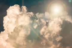 Large clouds and sun before a storm, background Royalty Free Stock Image