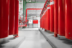 Large CO2 fire extinguishers in a power plant. Large CO2 fire extinguishers in a thermal power plant Royalty Free Stock Photography