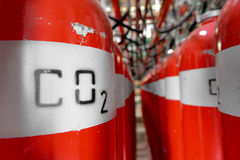 Large CO2 fire extinguishers in a power plant Stock Images