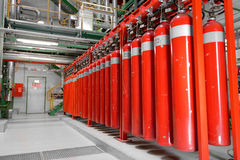 Large CO2 fire extinguishers in a power plant. Large CO2 fire extinguishers in a thermal power plant Royalty Free Stock Photo