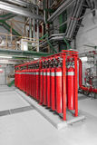 Large CO2 fire extinguishers in a power plant Royalty Free Stock Photos