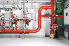 Large CO2 fire extinguishers in a power plant Royalty Free Stock Images