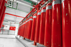 Large CO2 fire extinguishers in a power plant Royalty Free Stock Photography