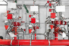 Large CO2 fire extinguishers in a power plant Stock Photos